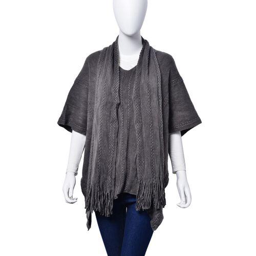 Set of 2 - Dark Grey Colour Poncho (Size 80x70 Cm) and Scarf (Size 145x13 Cm)
