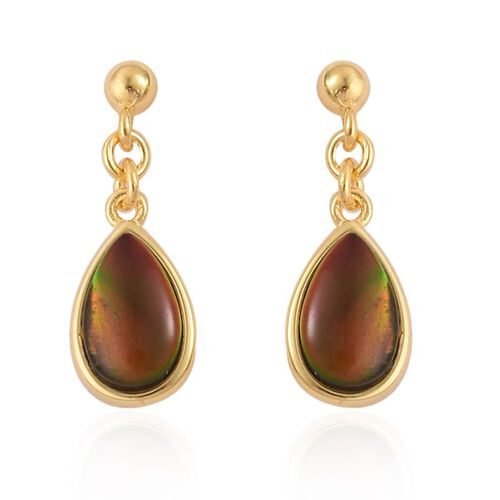 Canadian Ammolite (Pear) Earrings (with Push Back) in Yellow Gold Overlay Sterling Silver 1.750 Ct.