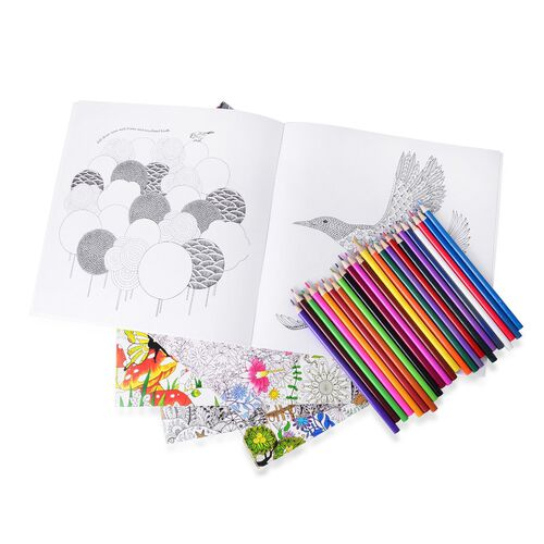 Nature Theme Five Colouring Books (Size 25X25 Cm) with Pencil Colours