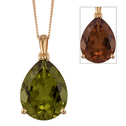 Alexite (Pear) Solitaire Pendant With Chain in 14K Gold Overlay Sterling Silver 8.500 Ct.