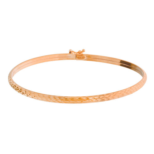 Vicenza Collection- Designer Inspired 9K Rose Gold Diamond Cut Bangle (Size Medium 62mm)