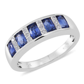 ILIANA 18K W Gold AAAA Ceylon Blue Sapphire (Ovl), Diamond (SI/G-H) Ring 2.000 Ct.