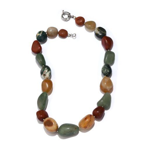 Multi Colour Agate Necklace (Size 20) in Silver Tone 588.750 Ct.