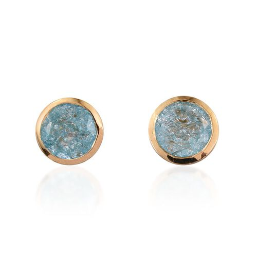Paraiba Blue Crackled Quartz (Rnd) Stud Earrings (with Push Back) in 14K Gold Overlay Sterling Silver 3.750 Ct.