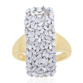 Designer Inspired - Firecracker Diamond (Bgt) Ring in 14K Gold Overlay Sterling Silver 1.000 Ct.