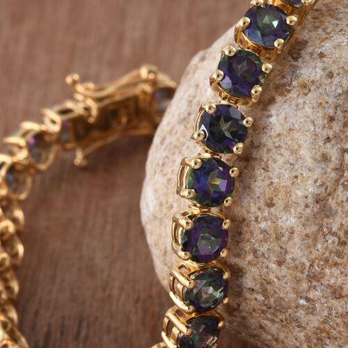 Northern Lights Mystic Topaz (Rnd) Bracelet (Size 7.5) in 14K Gold Overlay Sterling Silver 21.000 Ct.