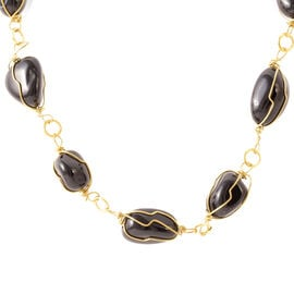 Black Onyx Necklace (Size 18) in Yellow Gold Bond 200.000 Ct.