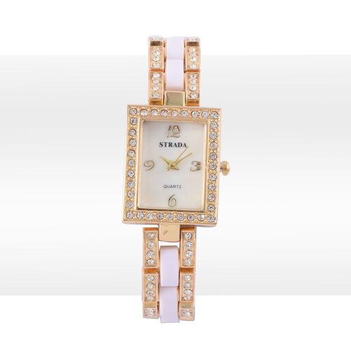 STRADA Japanese Movement White Dial with White Austrian Crystal Water Resistant Watch in Gold Tone with Stainless Steel Back and Golden Strap