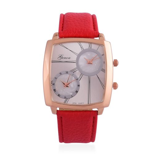 GENOA Japanese Movement Water Resistant Rose Gold Tone Watch