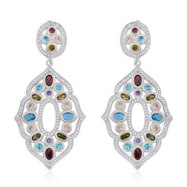 Signature Collection ELANZA AAA Simulated Multi Colour Diamond (Ovl), Simulated White Diamond Earrings (with Clasp) in Rhodium Plated Sterling Silver. Silver Wt 19.00 Gms
