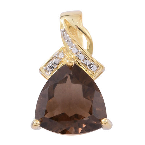 Brazilian Smoky Quartz (Trl) Pendant in 14K Gold Overlay Sterling Silver 5.000 Ct.
