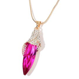 Designer Inspired-Simulated Tourmaline and White Austrian Crystal Calla Lily Pendant With Chain in Yellow Gold Tone