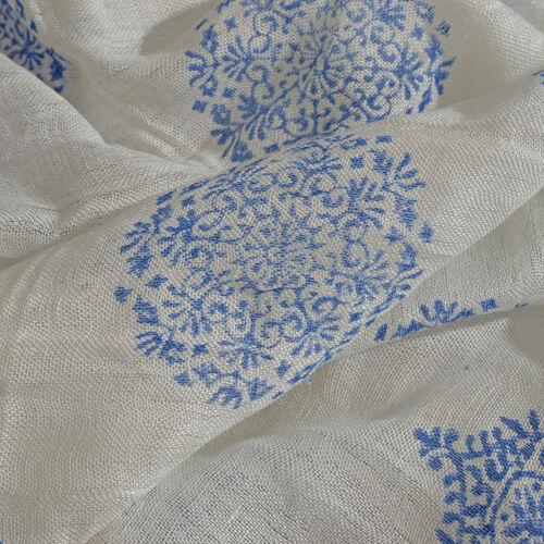 Blue Colour Handblock Printed White Colour Scarf (Size 180x70 Cm)