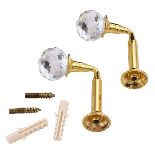 Pair of Golden Colour Curtain Tieback Hooks with Crystal (Size 6.5X4.75 Cm)