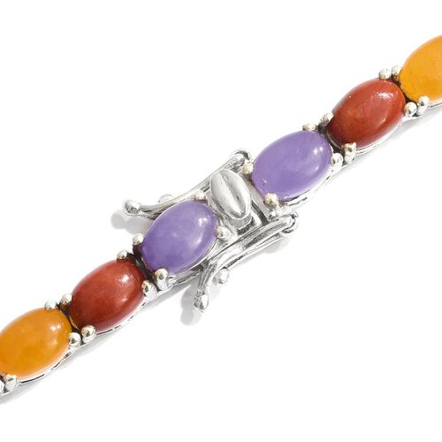 Designer Inspired- Yellow Jade (Ovl), Pink Jade, Blue Jade, Purple Jade, Red Jade and Green Jade Necklace (Size 18) in Platinum Overlay Sterling Silver 63.000 Ct.Silver Wt 27.00 Gms