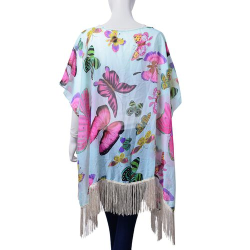 Multi Colour Butterfly Pattern Mint Green Colour Poncho with Tassels (Free Size)