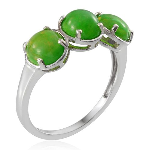 Green Ethiopian Opal (Rnd) Trilogy Ring in Platinum Overlay Sterling Silver 2.750 Ct.