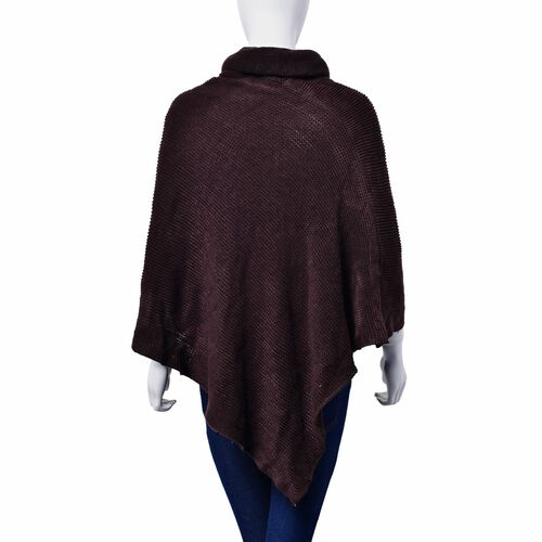 New For Season -  Chocolate Colour Long Collar Poncho (Free Size)