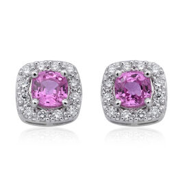 Limited Edition - RHAPSODY 950 Platinum AAAA Pink Sapphire (Cush), Diamond (VS/E-F) Stud Earrings (with Push Back) 1.900 Ct.