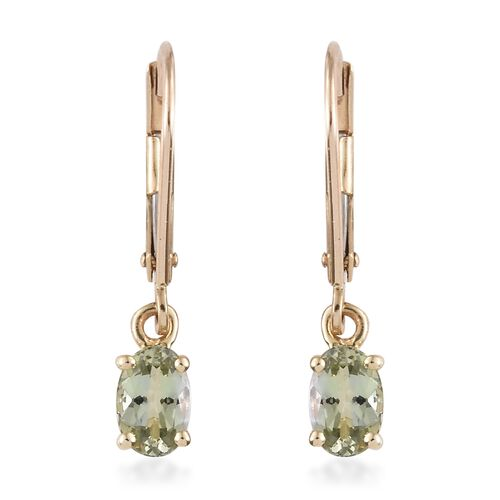 9K Yellow Gold 1 Carat AA Green Tanzanite Lever Back Earrings