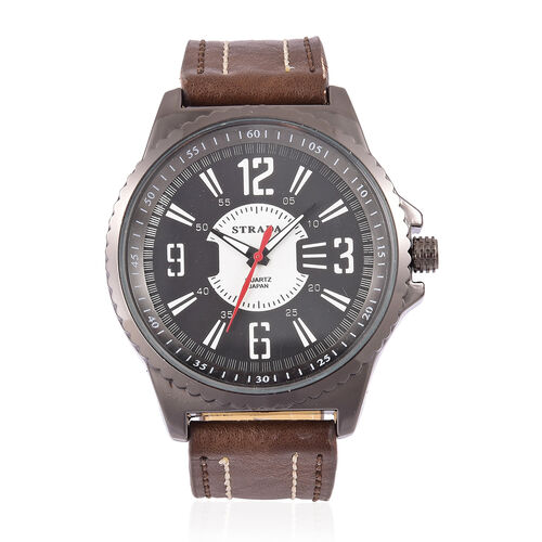 STRADA Japanese Movement Water Resistant Watch in Black Tone with Chocolate Colour Strap