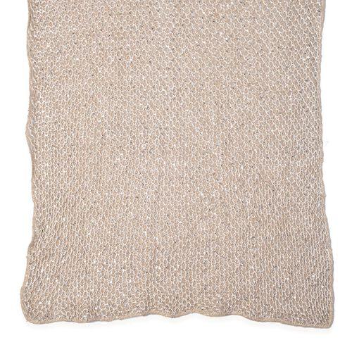 Net Design Cream Colour Scarf with Silver Colour Sequins (Size 180x60 Cm)
