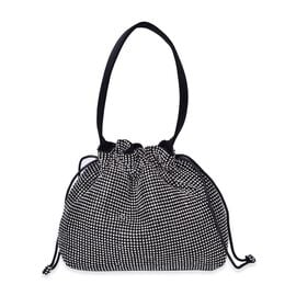 Designer Inspired - White Austrian Crystal Embellished Black Tote Bag (Size 23X19.5X4 Cm)