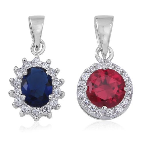 Set of 2 - ELANZA AAA Simulated Tanzanite (Ovl), Simulated Ruby and Simulated White Diamond Pendant in Rhodium Plated Sterling Silver