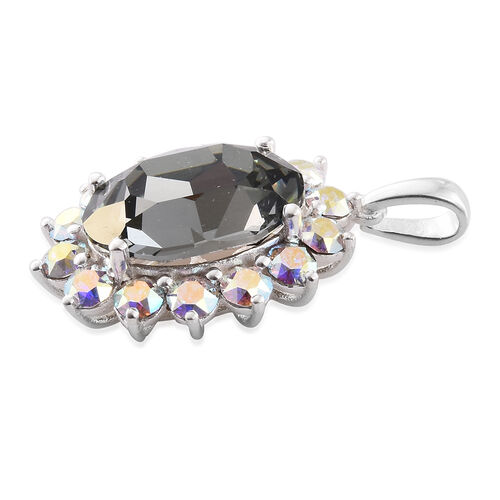 J Francis Crystal from Swarovski - Black Diamond Colour Crystal (Ovl 18x13 MM), AB Colour Crystal Pendant in Sterling Silver