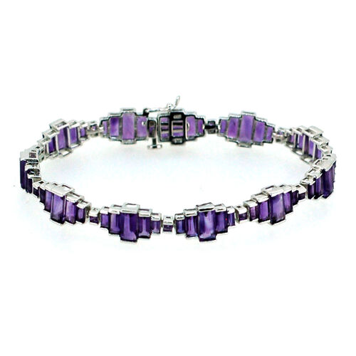 Amethyst (Bgt) Bracelet (Size 7.5) in Sterling Silver 20.000 Ct.