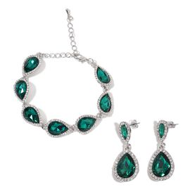 AAA Simulated Emerald and White Austrian Crystal Bracelet (Size 6.5) and Earrings (with Push Back) in Silver Tone