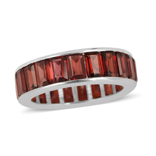 Mozambique Garnet (Bgt) Full Eternity Band Ring in Rhodium Plated Sterling Silver 10.000 Ct.