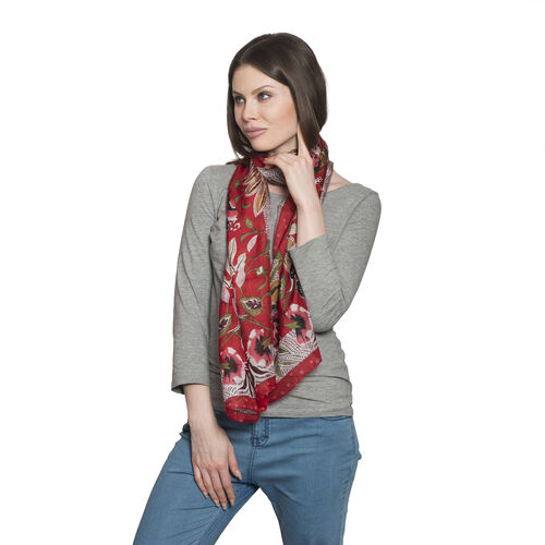 100% Mulberry Silk Red, Green and Multi Colour Floral and Leaves Hand Screen Printed Scarf (Size 170X50 Cm)