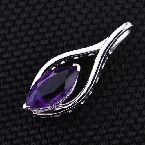 Amethyst (Mrq) Solitaire Pendant in Platinum Overlay Sterling Silver 1.500 Ct.