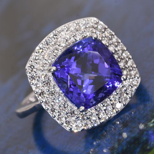 ILIANA 18K White Gold AAAA Tanzanite (Cush), Diamond (SI/G-H) Ring 8.500 Ct.