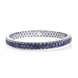 Masoala Sapphire (Ovl) Bangle (Size 6.5) in Platinum Overlay Sterling Silver 22.500 Ct. Silver wt 11.50 Gms.