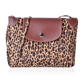 Brown and Chocolate Colour Leopard Pattern Crossbody Bag with External Zipper Pocket and Shoulder Strap (Size 25x20 Cm)