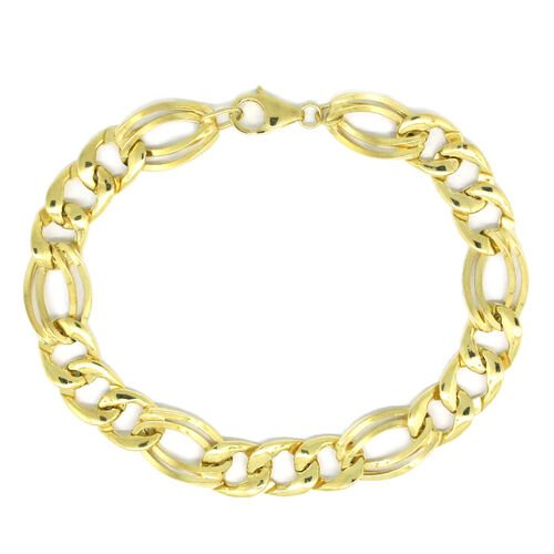 Vicenza Collection 9K Yellow Gold Figaro Bracelet (Size 8), Gold wt 7.69 Gms.