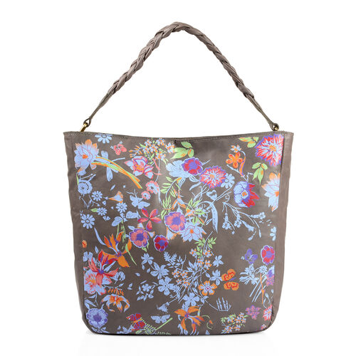 Genuine Leather RFID Blocker Light Grey, Blue and Multi Colour Floral Pattern Bag with Braided Shoulder Strap (Size 40X36X32X10 Cm)