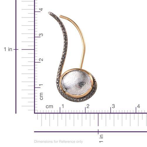 Meteorite (Ovl), Black Diamond Climber Earrings in 14K Gold Overlay Sterling Silver 7.280 Ct.