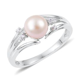 9K W Gold AAA Japanese Akoya Pearl (Rnd 7-8mm), Natural Cambodian White Zircon Ring