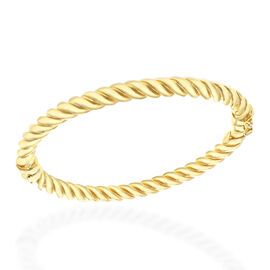 One Time Clsoe Out Deal - Gold Overlay Sterling Silver Rope Twist Bangle (Size 7.5), Silver wt 16.02 Gms.