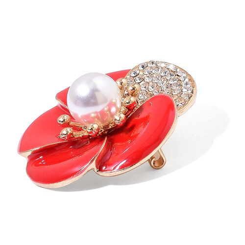 (Option 2) TJC Poppy Design - Simulated Pearl and White Austrian Crystal Red Colour Enameled Poppy Flower Brooch in Yellow Gold Tone