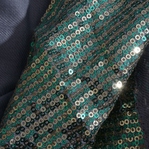 Limited Edition Designer Inspired Grey Colour Scarf with Sequins Work on Border (Size 180x70 Cm)