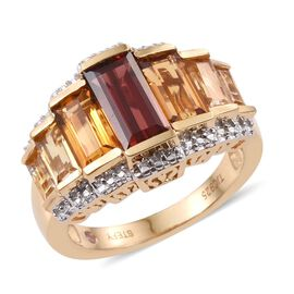 Stefy Mozambique Garnet (Bgt 1.75 Ct), Madeira Citrine, Citrine and Pink Sapphire Ring in 14K Gold Overlay Sterling Silver 4.750 Ct.