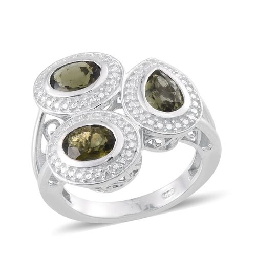 Bohemian Moldavite (Pear 0.50 Ct) Ring in Platinum Overlay Sterling Silver 1.750 Ct.