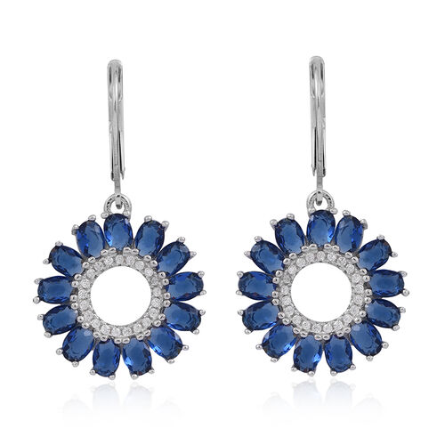 ELANZA AAA Simulated Ceylon Sapphire (Ovl), Simulated Diamond Lever Back Earrings in Rhodium Plated Sterling Silver