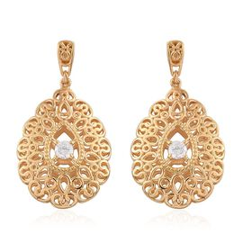 Designer Inspired J Francis - 14K Gold Overlay Sterling Silver (Rnd) Earrings (with Push Back) Made with SWAROVSKI ZIRCONIA, Silver wt 9.00 Gms.