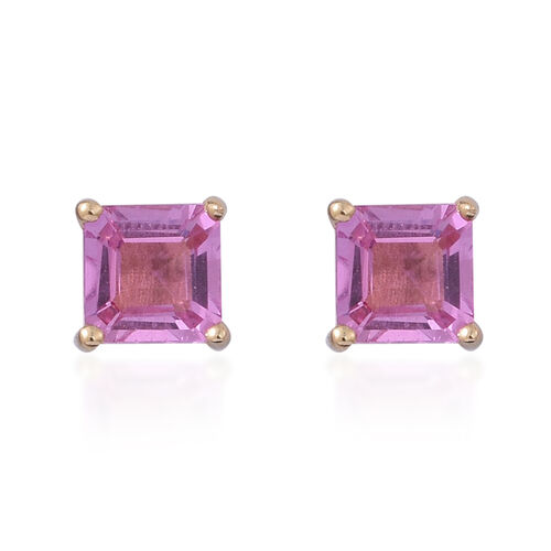 ILIANA 18K Yellow Gold Pink Sapphire (Sqr) Stud Earrings (with Screw Back) 1.000 Ct.
