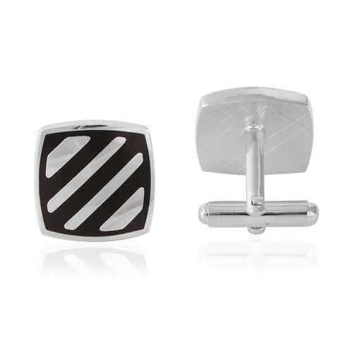 Stripe Cufflink in Silver Bond